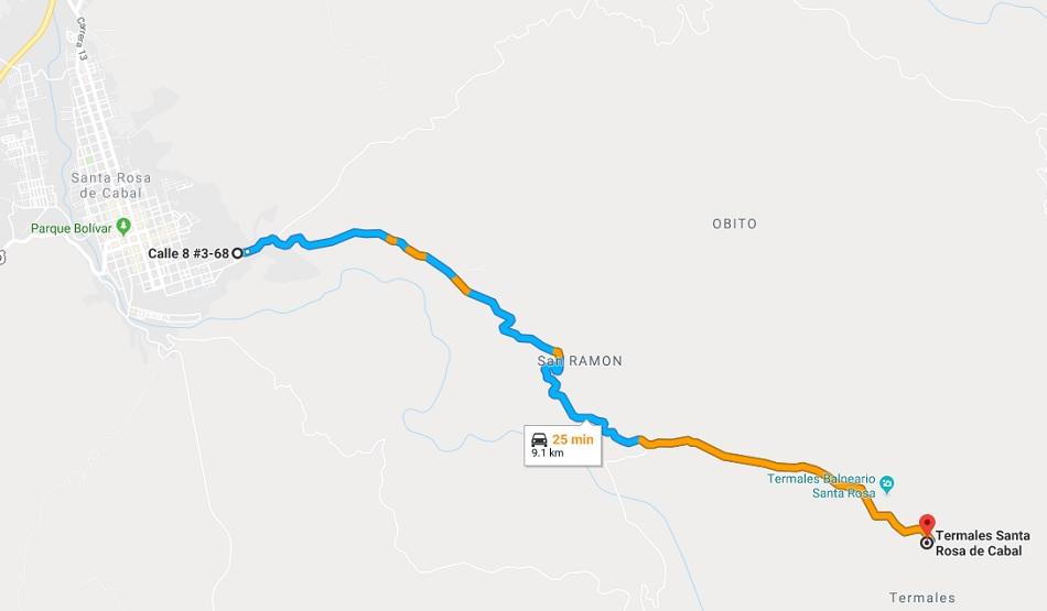 Mapa hacia Termales Santa Rosa de Cabal