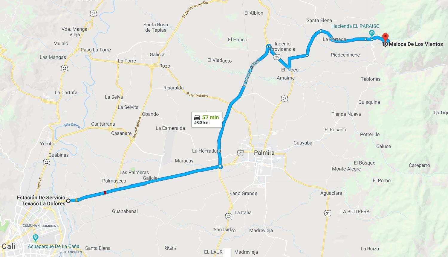 Mapa desde Cali a Maloca