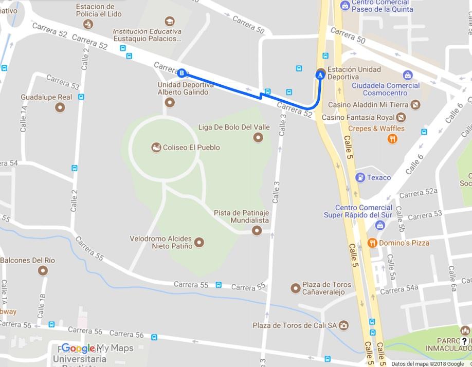Mapa Coliseo - Unid. Antonio Galindo- Ciudadela Petronio