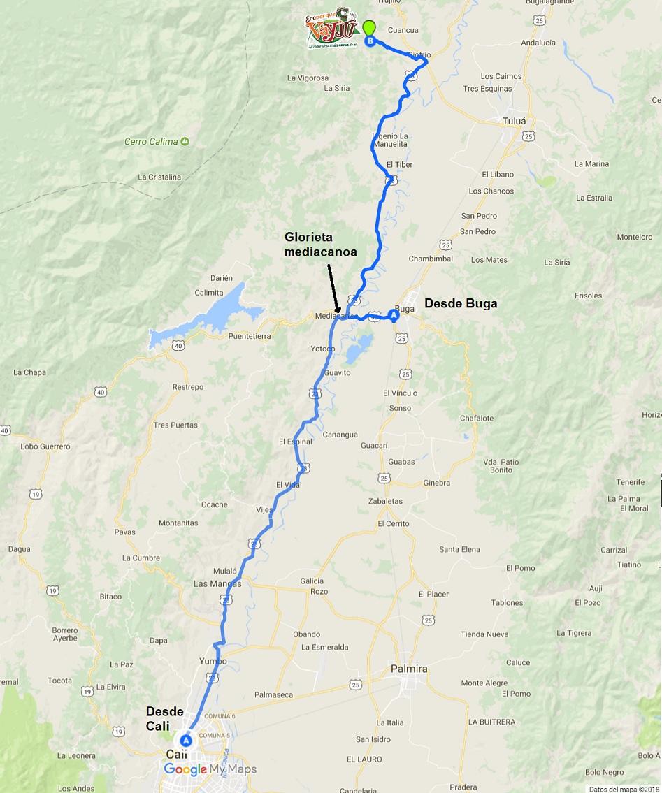 Mapa hacia Vayju desde Cali y Buga