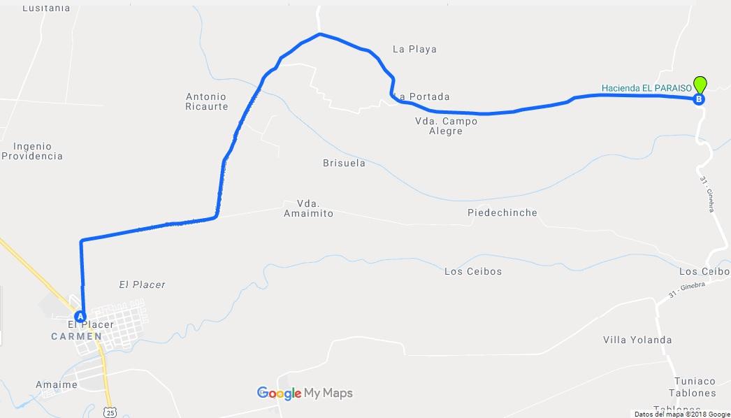 Mapa Hacienda El Paraiso desde El Placer