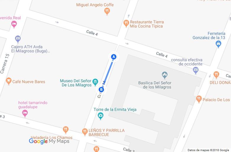 Mapa hacia Museo de Buga