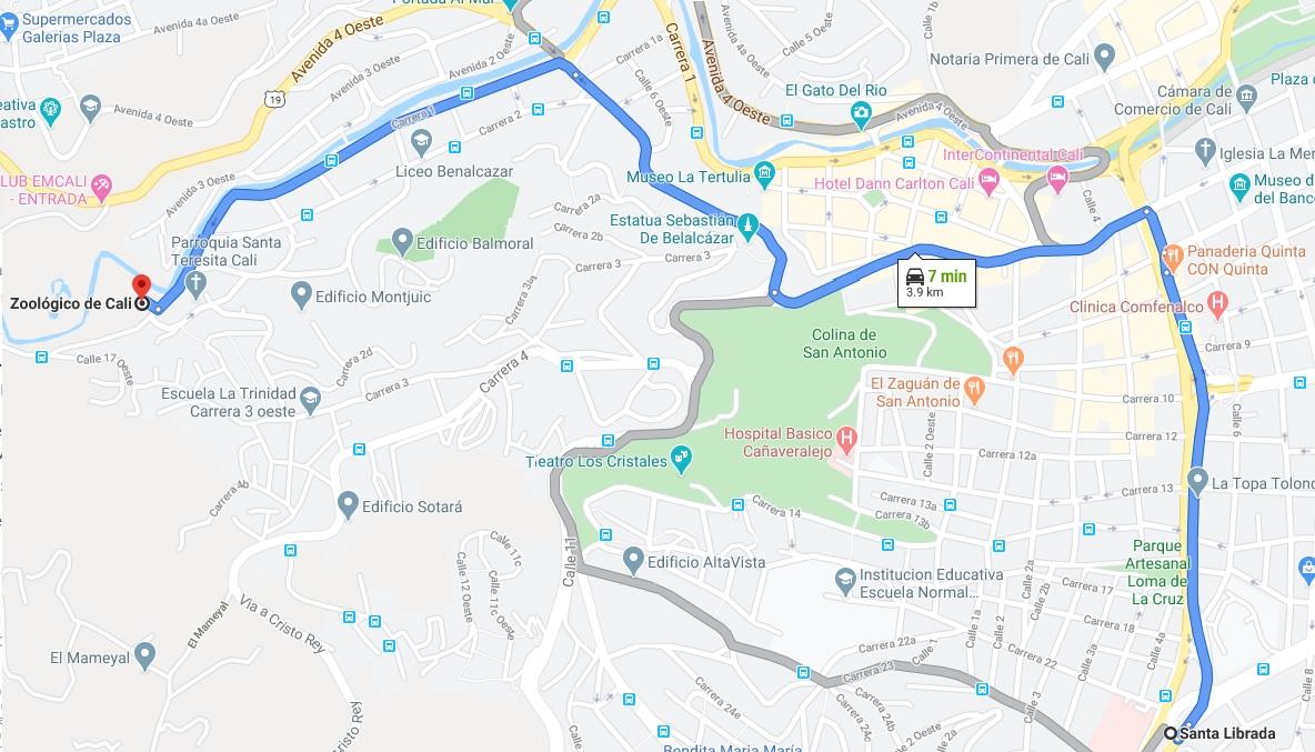 Mapa hacia Zoologico